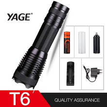 YAGE YG-339C Aluminum Waterproof Zoomable CREE T6 LED Clip Flashlight Torch Light with 18650 Rechargeable Battery Inside or AAA yage yg 5710 cree 350lm rechargeable led industrial flashlight torch