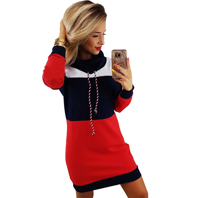 Bigsweety casual retalhos hoodie vestido nova moda outono inverno gola alta manga comprida com capuz moletom mini vestido