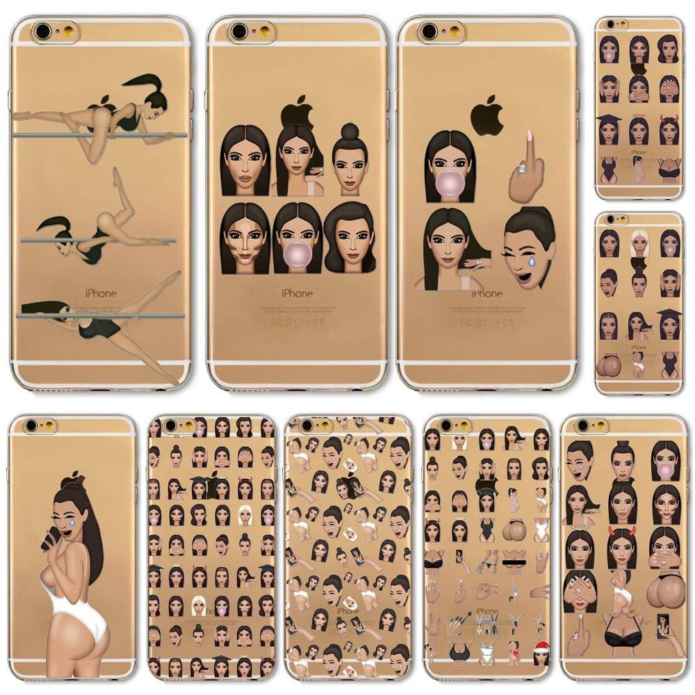 wholesale dealer 473e4 d6ddd US $2.59 |Aliexpress.com : Buy New! Funny Face Kimoji Kim Kardashian Cases  For iphone 6 6S Girls Design Travling Girl Clear Ultrathin TPU Crying Face  ...