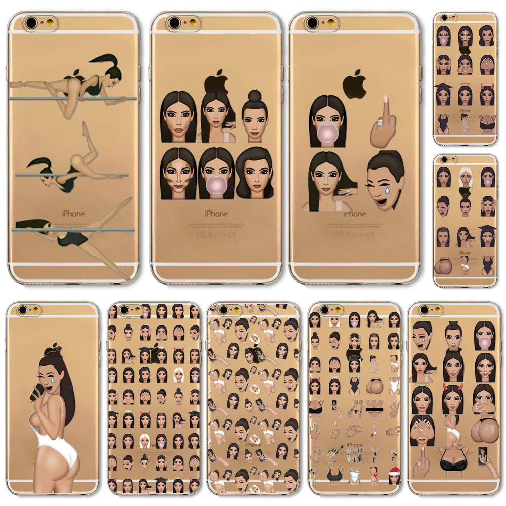 New! Funny Face Kimoji Kim Kardashian Cases For iphone 6 6S Girls Design Travling Girl Clear Ultrathin TPU Crying Face Cover