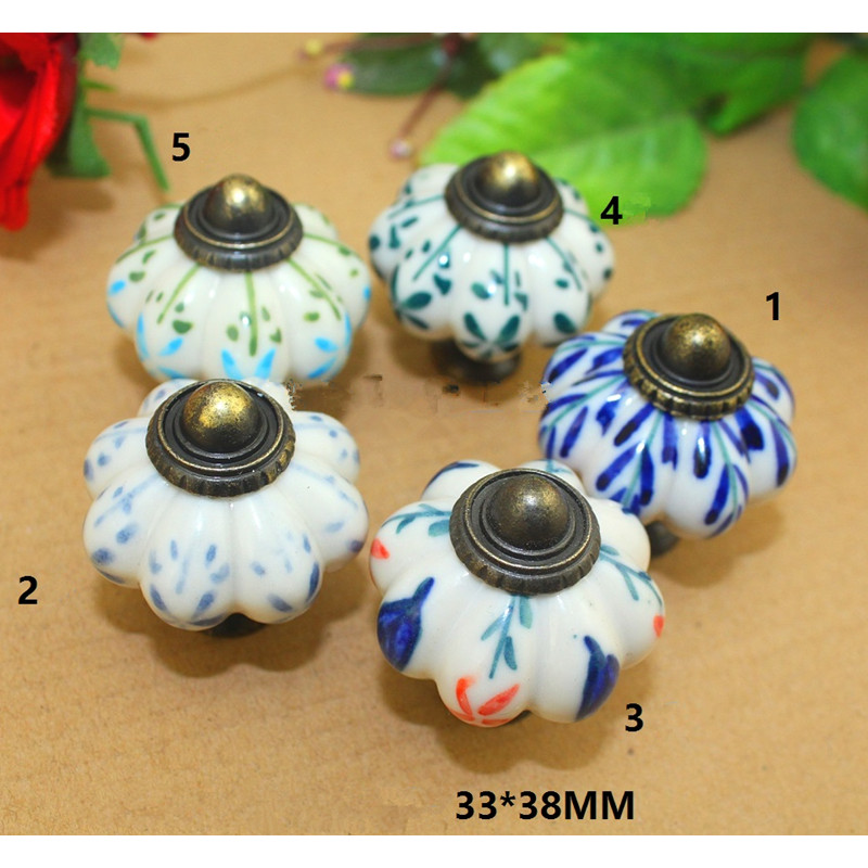 Bulk Vintage Pumpkin Cabinet Knobs European Furniture Handles Ceramic Door Knob Cabinet Drawer Cupboard Kitchen Pull Handle Knob pastoralism pumpkin ceramic knob kitchen ceramic door cabinets cupboard knob and handles 1pcs