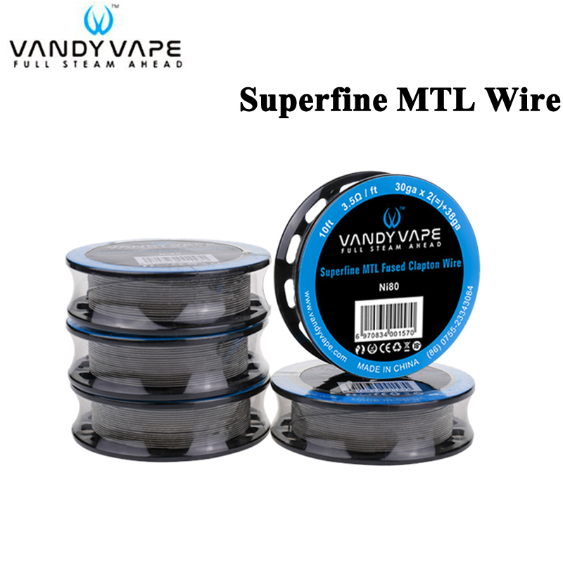 Original Vandy Vape Superfine MTL Fused Clapton Wire Ni80 30ga x 2(=)+38ga 10ft / SS316L30ga X 2(=)+38ga 10ft Fit MTL RTA RDA Рюкзак