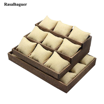 New Arrival Fashion Wooden Jewelry Tray Jewellery Organizer with Linen Pillow Holder for Waist Watches Bracelets Bangle Storage