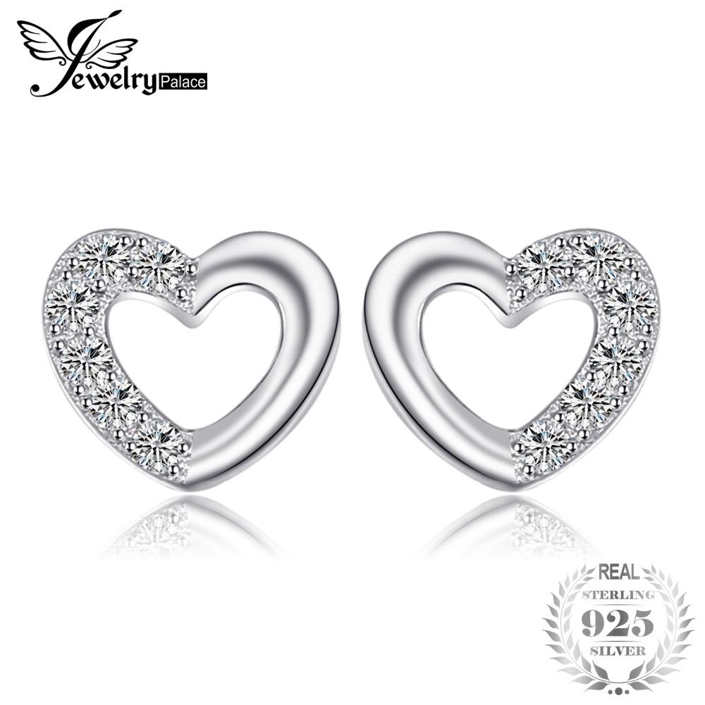 JewelryPalace Heart Love Kerek Cubic Zirconia Stud Fülbevaló Nők - Divatékszer
