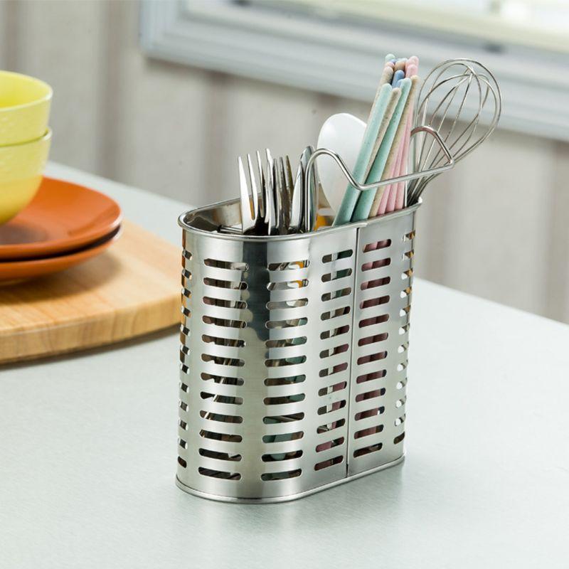 304 Stainless Steel Hanging Cutlery Holder Drainer Spoon Fork Chopsticks Storage Basket Rack Kitchen Accessories Tools Organizer