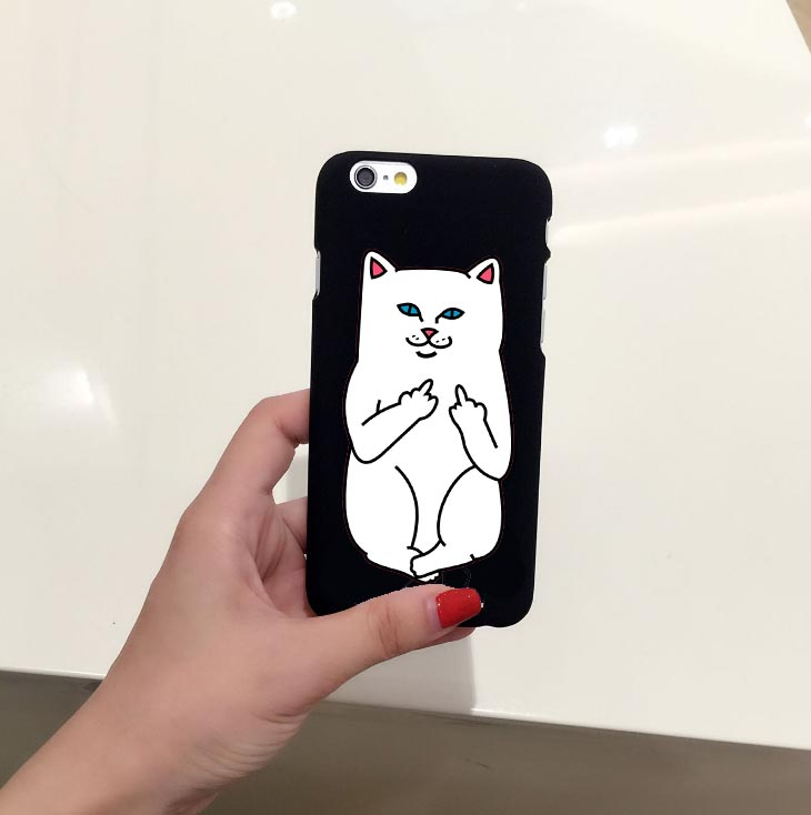 on sale 3b2f6 5c0e6 Funny Cartoon Cat Case For iphone 7 7 PLus 6 6S 5 5S SE Phone Cases Cute  Grumpy Animal Middle Finger Back Cover Capa-in Half-wrapped Case from ...