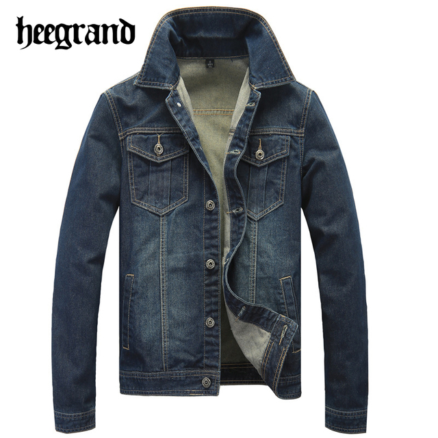 HEE GRAND 2017 New Spring Man Classic Fit Denim Jacket Men's Casual Solid Color Cotton Jean Coats MWJ2330