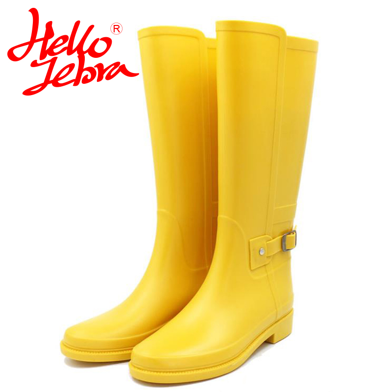 Hellozebra Punk Style Tall Boots Women's Pure Color Rain Boots Outdoor Rubber Water Shoes For Female 2017 New Fashion Design hellozebra punk style tall boots women s pure color rain boots outdoor rubber water shoes for female 2017 new fashion design