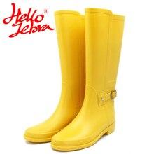 Hellozebra в стиле панк высокие Сапоги и ботинки для девочек Для женщин Однотонная Одежда Дождь Сапоги и ботинки для девочек уличная резиновая водонепроницаемая обувь для женщин 2017, Новая мода Дизайн
