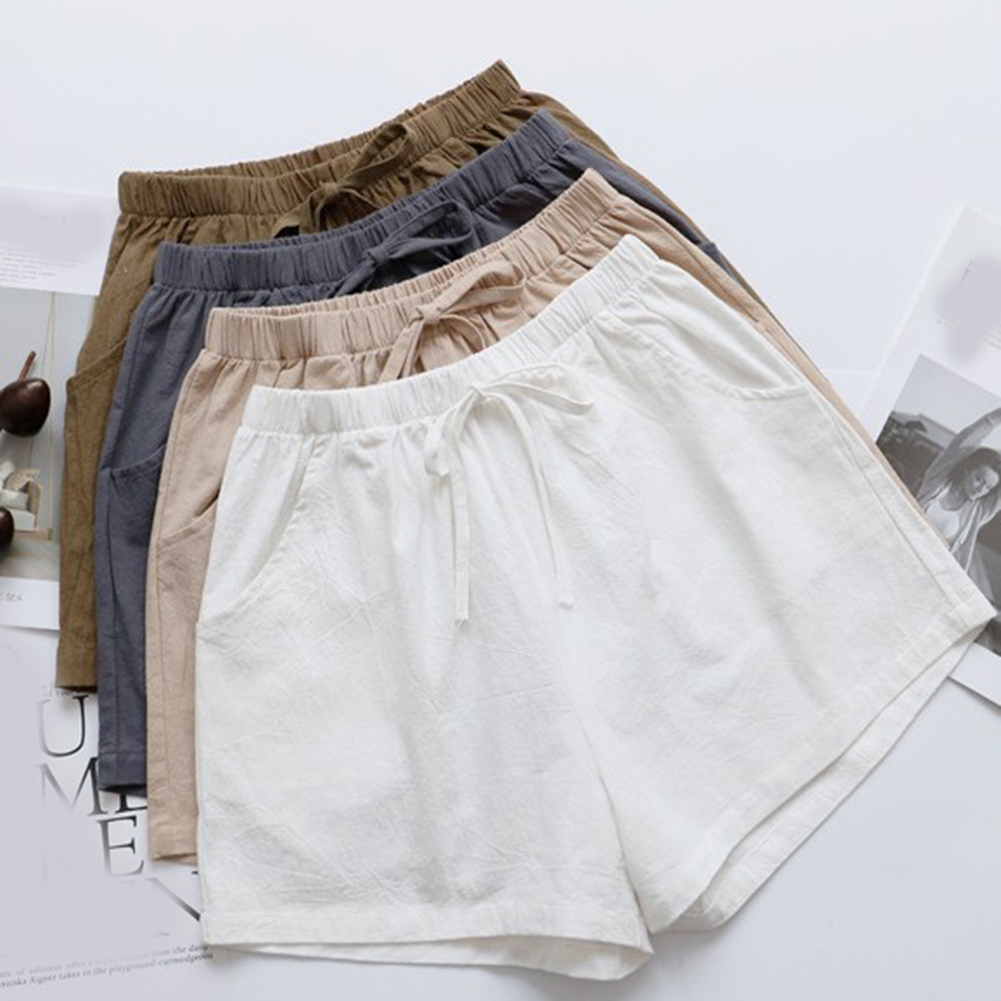 2019 New Style Fashion Women Shorts Summer High Waist Cotton Linen Loose Shorts Womens Casual Wide Leg Shorts