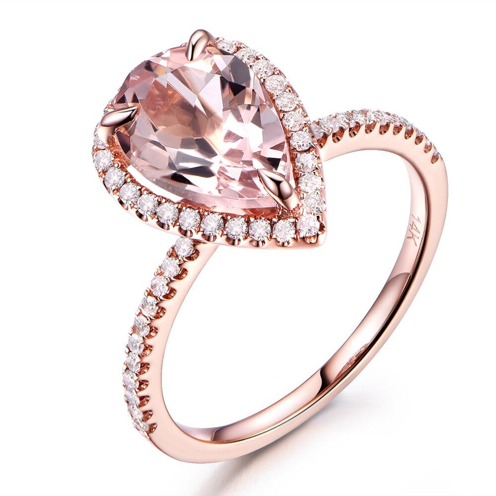 10x12mm Pear Cut 35ct Big Pink Morganite Stone Halo Diamond Bridal Ring  Engagement Wedding Band Solid 14k Rose Gold Art Deco