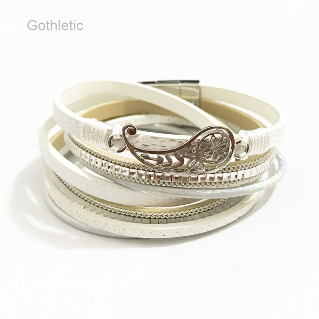 Gothletic Rhinestone White Leather Wrap Bracelets Filigree Leaf Charm Multilayer Bangles Women S Fashion Jewelry