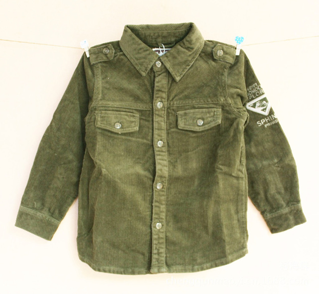 Spring Autumn Kids Shirts Tops Corduroy Long-sleeved Boys Blouset Dark Green Splice 3-15Y Fashion T-shirt  Baby Boy Tops Blouse