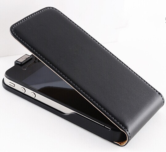 New ! Retro Real Genuine Leather Case for iPhone 4 4S 4G 5 5S 5G Luxury Vertical Magnetic Flip Phone Accessories Cover Black