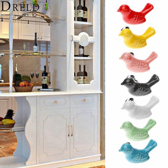 Muebles accesorios pájaro cerámica perillas de Puerta del cajón ...