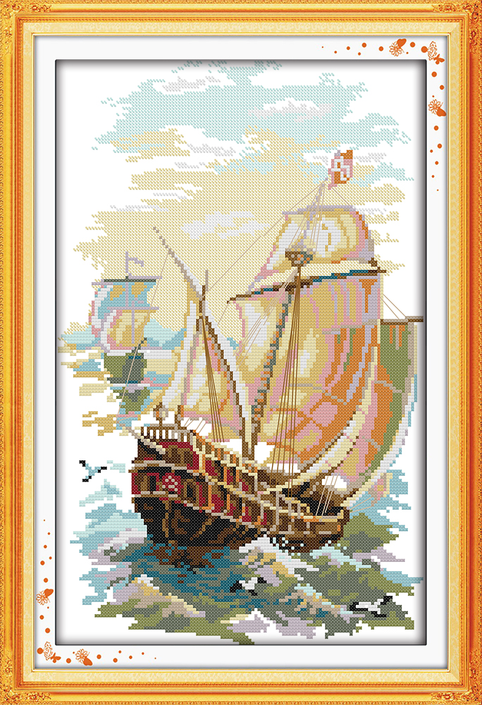 SUMMER LANDSCAPE COUNTED CROSS STITCH KIT 14 COUNT AIDA 26x30CM