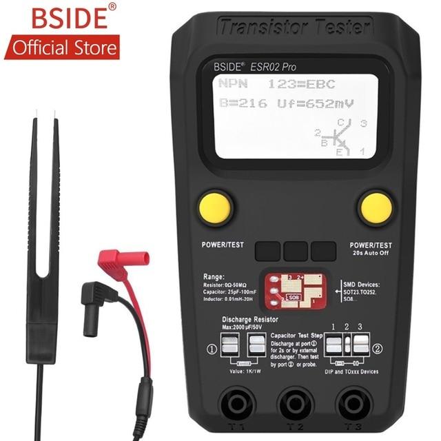 BSIDE ESR02PRO الرقمية الترانزستور سمد مكونات اختبار متعدد السعة صمام ثنائي ثلاثي المسار الحث المتعدد