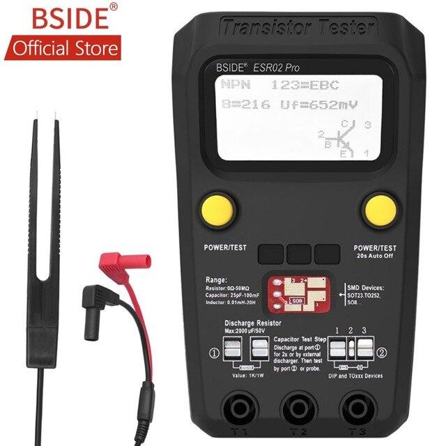 Bside ESR02PROデジタルトランジスタsmd部品テストジタルマルチメータキャパシタンスダイオードトライオードインダクタンスマルチテスター