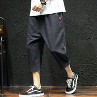 Harem Pants Men Casual Elastic Waist Linen Capri Wide Leg Baggy Trousers