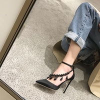 Free shipping fashion women Pumps Black satin s strappy crysta Pointy toe high heels shoes Stiletto Heeled 10cm 8cm