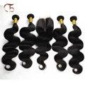 Não transformados Malásia onda do corpo do cabelo virgem 4 pacotes de cabelo e 1 pacote fechamento rendas cor natural preto muito macio rápido grátis