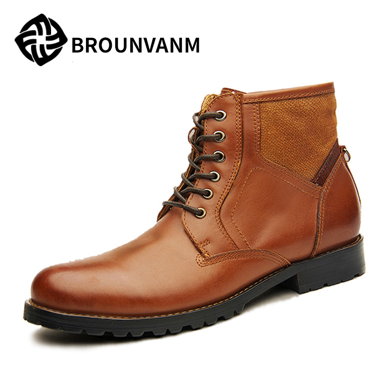 LEATHER BOOTS Mens Casual Martin boots Korean male British male commando summer shoes,Men's Martin boots ,western boots