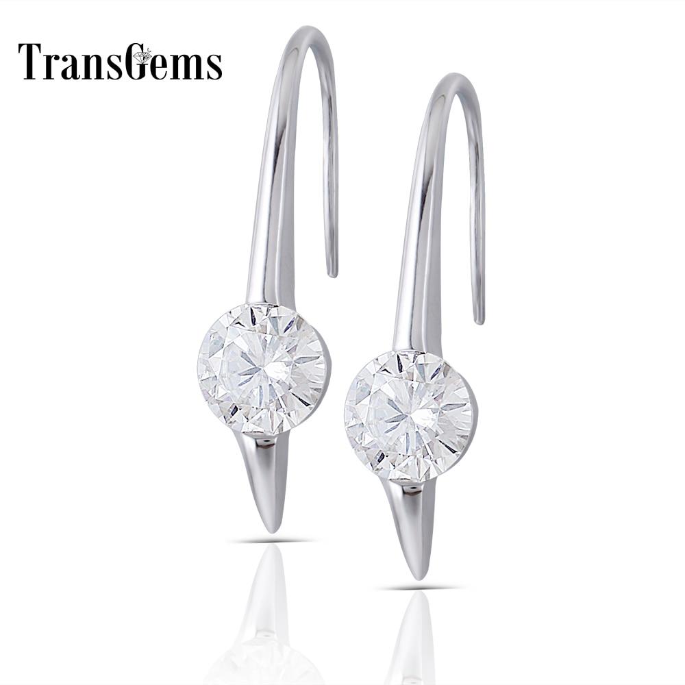 Transgems Center 1ct 6 5MM F Color Moissanite Drop Earrings 14k 585 White Gold Moissanite Dangle