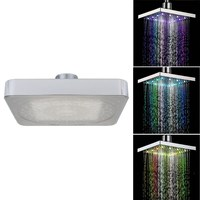 Chrome Finish ABS Square Temperature Sensitive Rainfall LED Shower Head Water Flow 8 Color Change 150x150x15mm