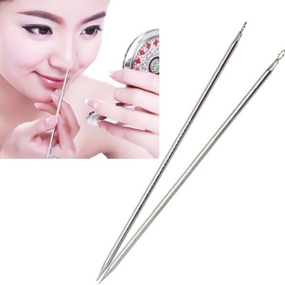 2pcs Blackhead Remover Pimple Comedone Extractor Tool Acne Blemish Removal Kit QRD88