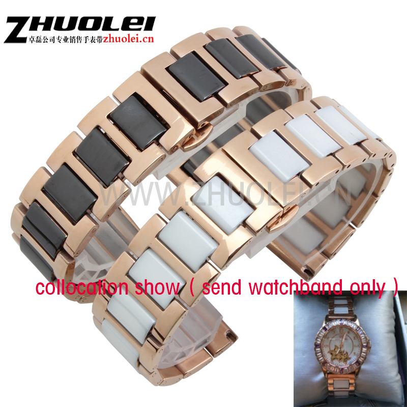 16mm 18mm 20mm High-quality ceramic +rose gold stainless steel watchband for ar watches straps women's Fashion Bracelet high quality watches band straps bracelets 16mm 18mm 20mm stainless steel wrap ceramic white black fashion watches band hot 2015