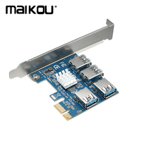 Maikou PCI E 4 Port PCI E Card PCI Express Expansion Card Riser USB3.0 Adapter for Mining