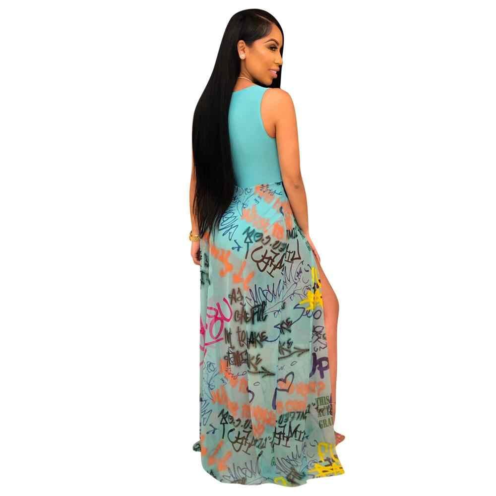 Echoine ผู้หญิง O คอพิมพ์พิมพ์ชุดเซ็กซี่ตาข่ายดูผ่าน Patchwork Maxi Beach Dress Plus ขนาด s-XXL สีเหลือง