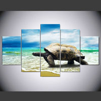 5 Panel Modern Sea Turtles On The Beach Art Print Canvas Art Wall Framed Paintings For