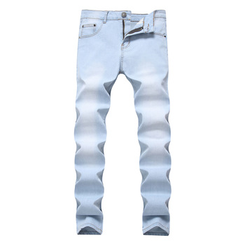 Men Biker Jeans Business Summer Straight Slim Fit Blue Jeans Stretch Denim Pants Trousers Classic Cowboy Man Washed Ripped Jeans