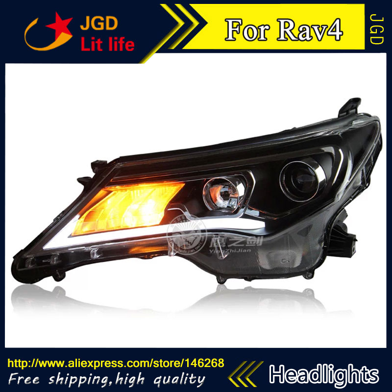 Free shipping ! Car styling LED HID Rio LED headlights Head Lamp case for Toyota Rav4 2013 2014 2015 Bi-Xenon Lens low beam special car trunk mats for toyota all models corolla camry rav4 auris prius yalis avensis 2014 accessories car styling auto