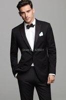 Mode Mannen Jurk Past Zwart Westerse Stijl Mannelijke Past Notched Revers Twee Knop Stalknecht Smoking Mannen Wedding Suits