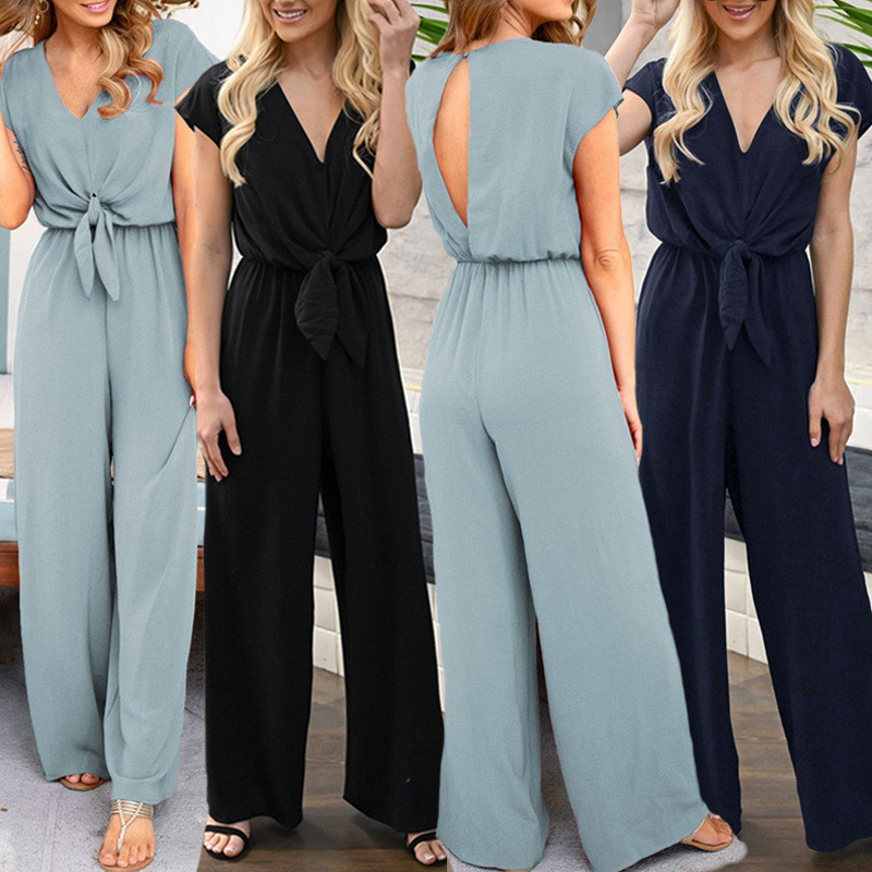 Vogue Women Summer   jumpsuit   romper Soild V neck short sleeve casual   jumpsuit   Long sash summer   jumpsuit   women overalls Long Pants