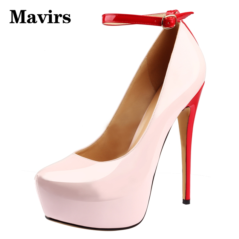 MAVIRS 2017 Luxury Designer Round Toe High Heels Platform Women Pumps Stiletto Heels Wedding Party Dress Shoes Ankle Strap
