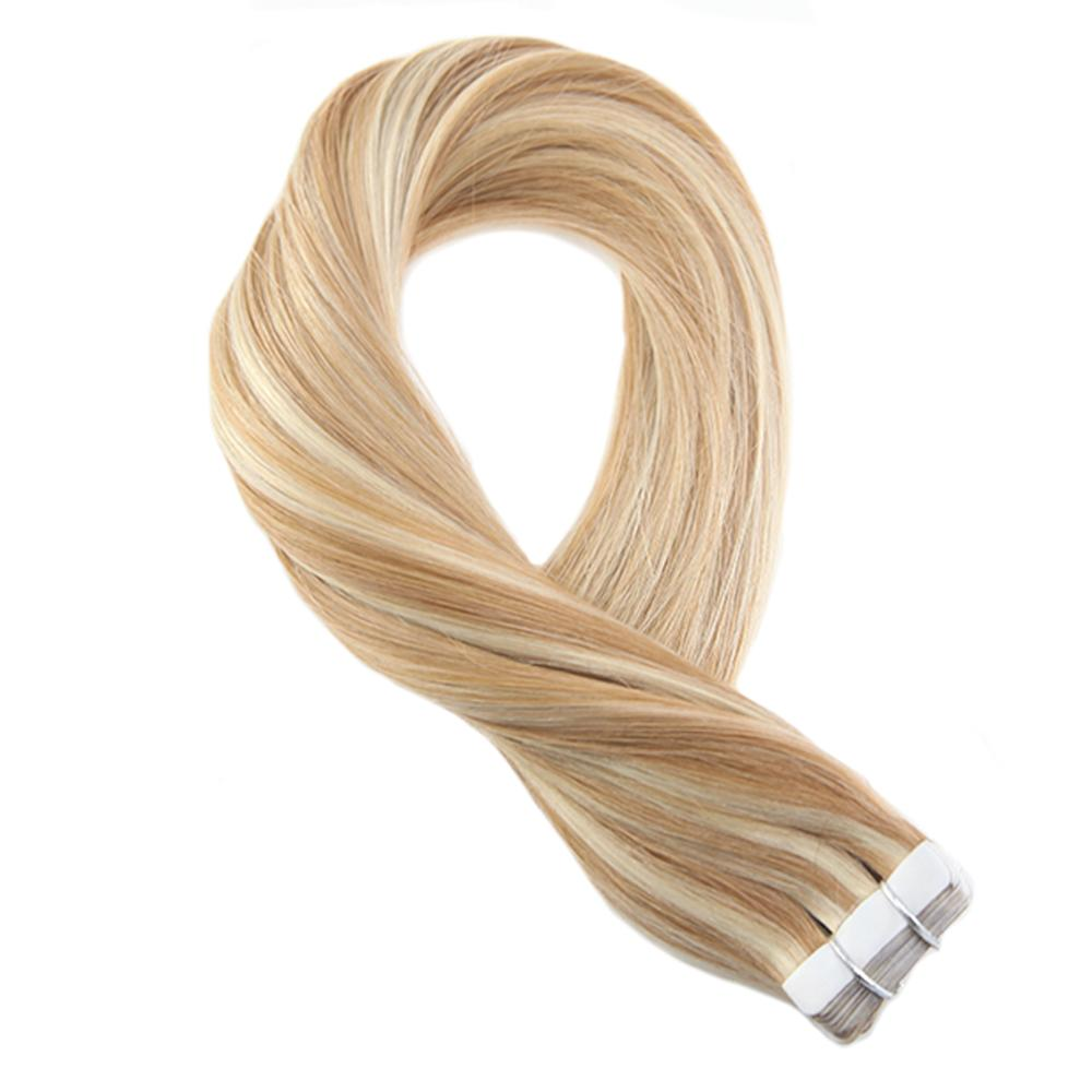 Moresoo Tape In Hair Extensions 100% Real Remy Human Hair Highlight Color #P27/60 Glue On Hair Extensions 2.5g/pc