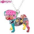 Bonsny Declaração Liga de Metal Esmalte Colar Gargantilha Cadeia Collar Cão Pug Bulldog Pingente 2016 Moda de Nova Mulheres Jóias Esmalte