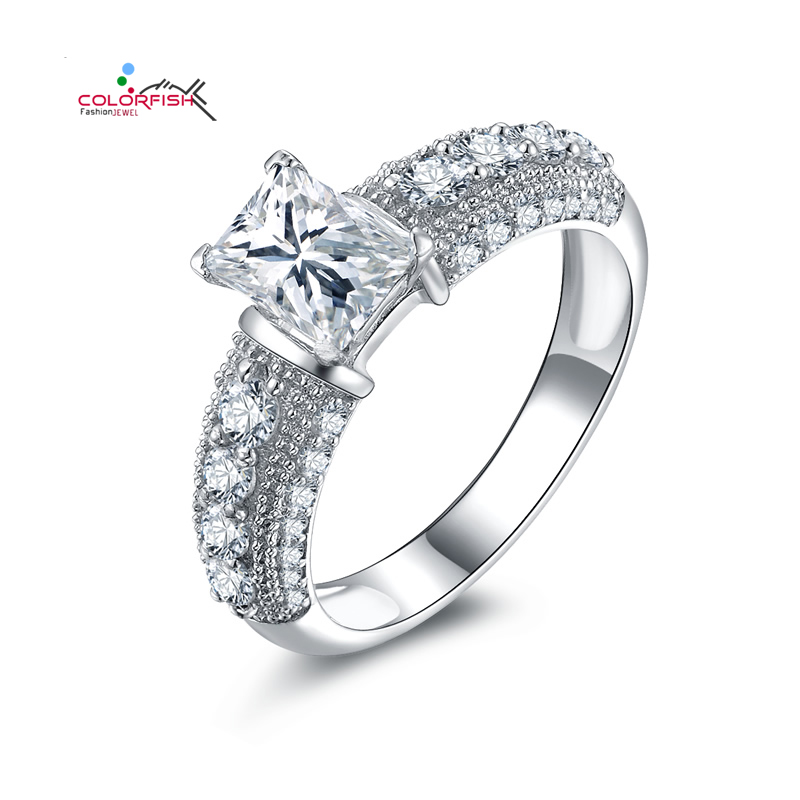 COLORIFSH Dazzling 925 Sterling Silver Rings For Women Engagement Wedding 1 Carat Rectangle Antique Inspired Synthetic Sona Ring