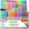 100 Pack Set Gel Colored Pens With Foldable Case For Adults Coloring Books Drawing Glitter Neon