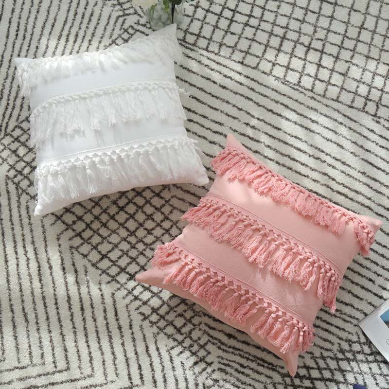 home decorative cotton cushion cover pink blue tassels solid pillow covers for sofa bed couch girls room 45x45cm 30x50cm