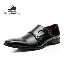 Мужчины обувь повседневная люксовый бренд натуральной кожи черного вечернее платье двойной монах пряжки ремни свадебные башмаки обувь zapatos hombre