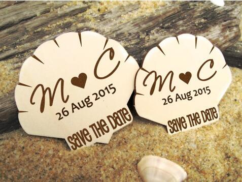 df286ba00 personalized initials date Seashell Wedding Save the Date fridge Magnets engagement  bridal shower party favors company gifts