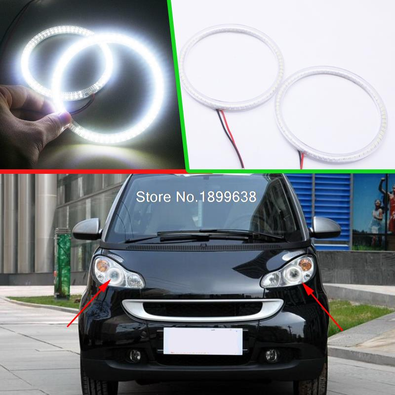 2pcs Super bright 7000K white 3528 smd led angel eyes halo rings car styling for Smart Fortwo W451 Mk2 2008 2009 2010 2013 2014 2pcs lot high bright 360 degree smd demon led halo rings devil eye for all car projector headlight color white red blue yellow