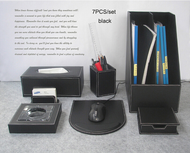 Luxe 7 stks set hout lederen bureau bestand briefpapier accessoires