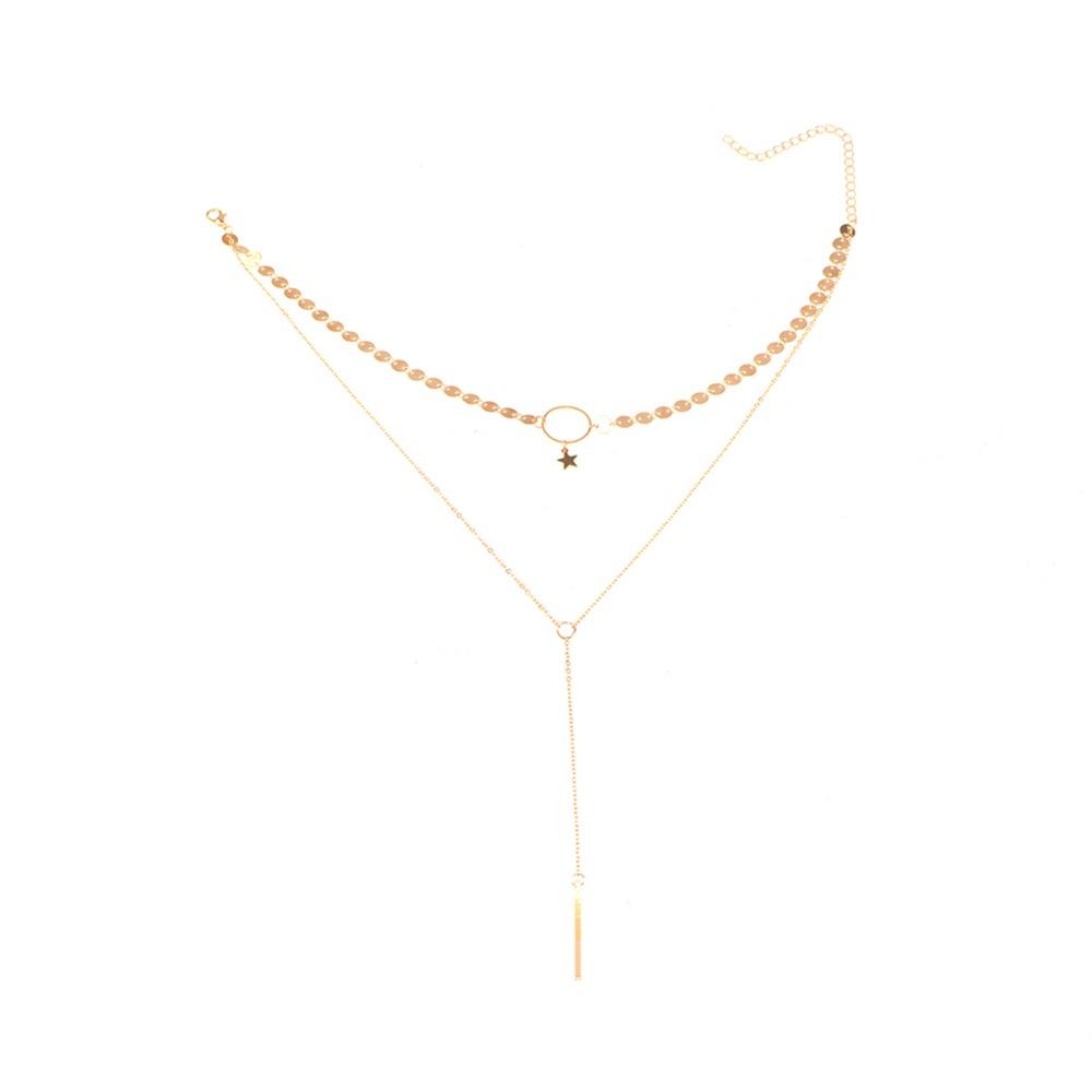 HTB1uL5ZPpXXXXcIXpXXq6xXFXXXW 2 Layer Star Sequins Choker And Long Tassel Chain Necklace