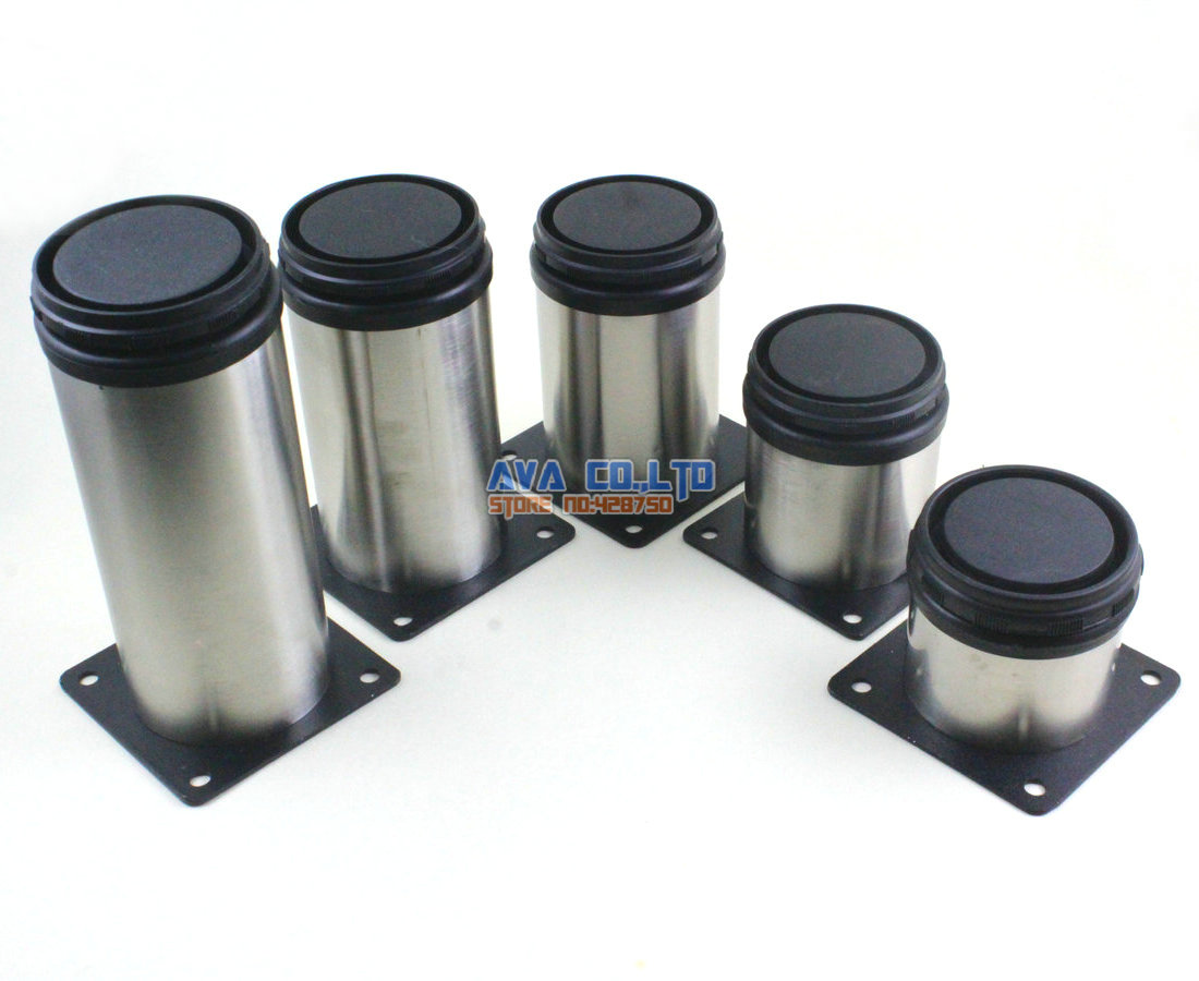 4 Pieces 100mm Adjustable Stainless Steel Round Furniture Cabinet Leg Cupboard Table Feet bqlzr 80x85mm round silver black adjustable stainless steel plastic furniture legs sofa bed cupboard cabinet table bench feet