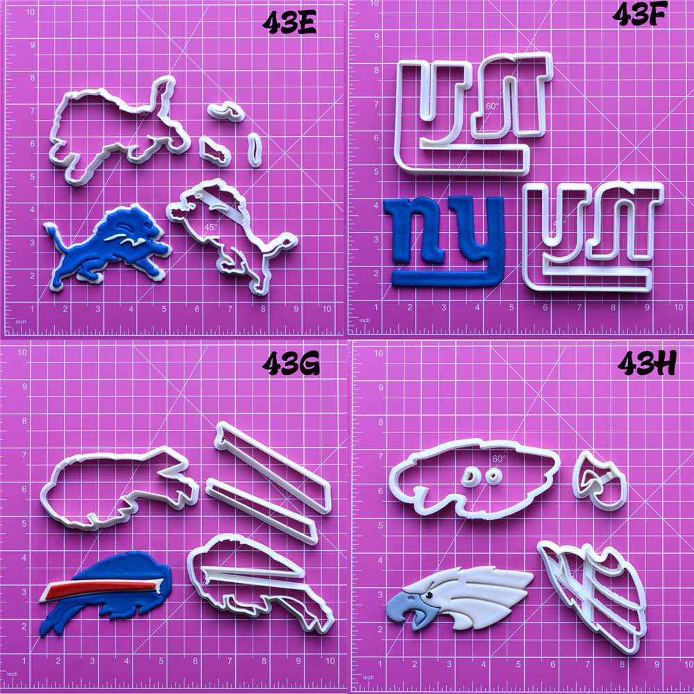 National Football Team Logo Cookie Cutter Set Custom Made 3D Printed Fondant Cake Cutter Cookie Decorating Tools Fondant Moulds